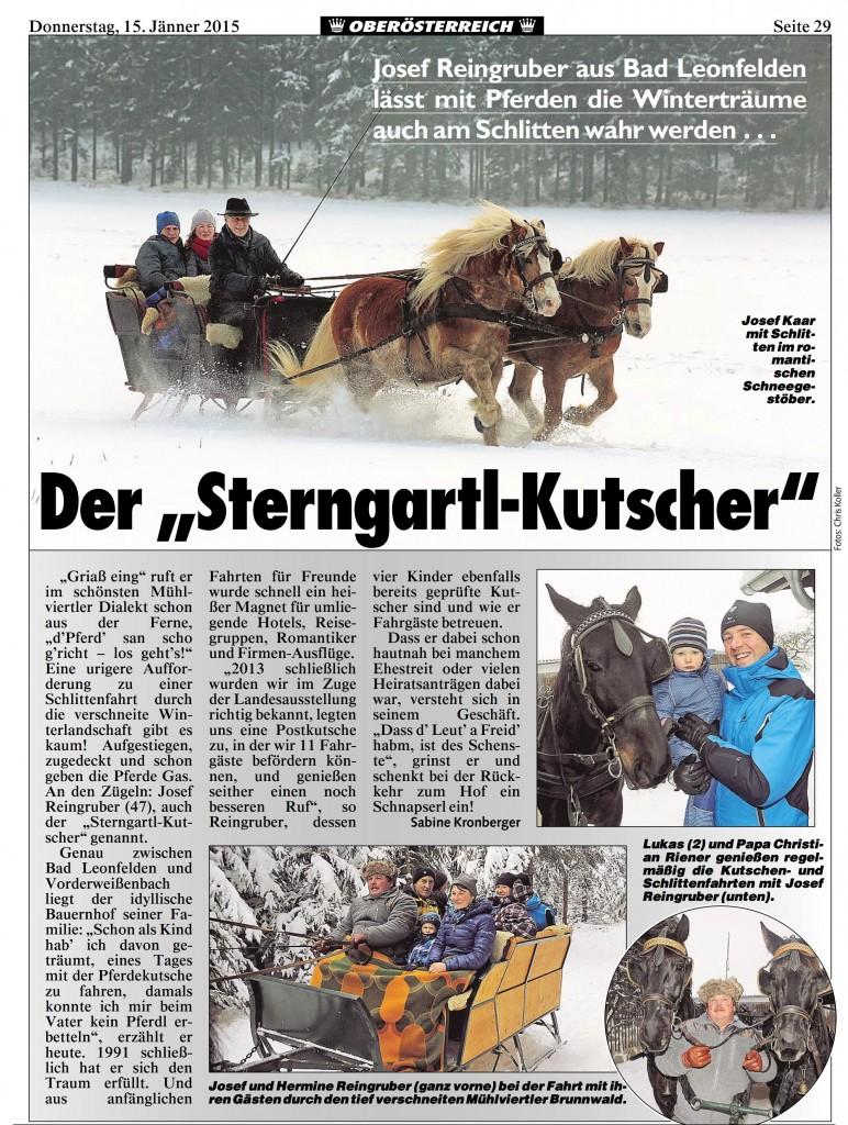 Beitrag über unsere Schlittenfahrten in der OÖ Krone vom 15.1.2015.